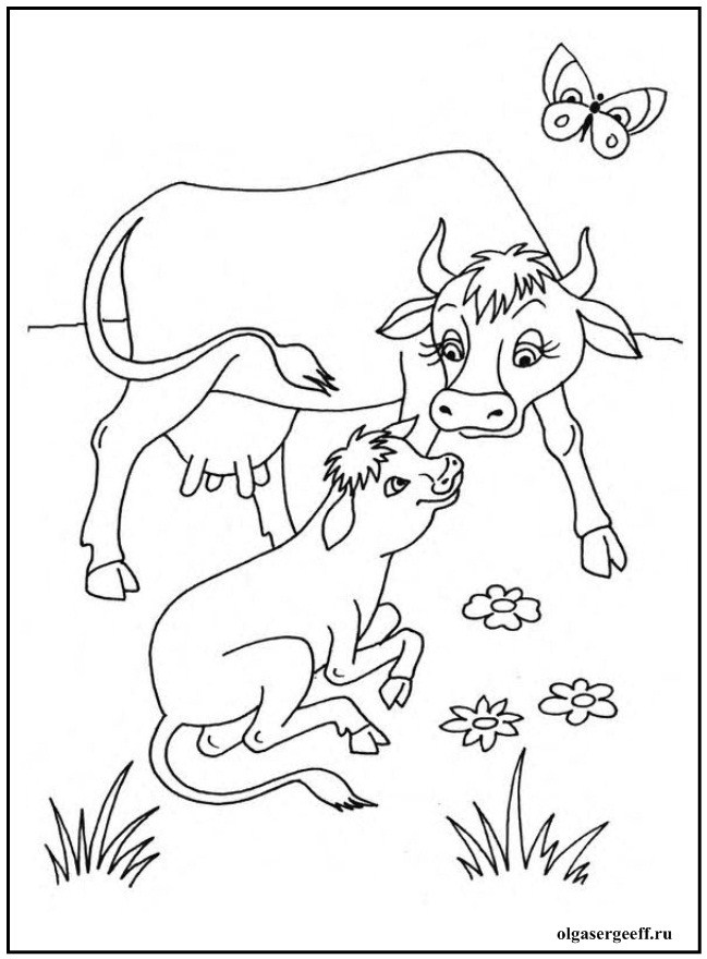 Раскраски домашние животные с детенышами